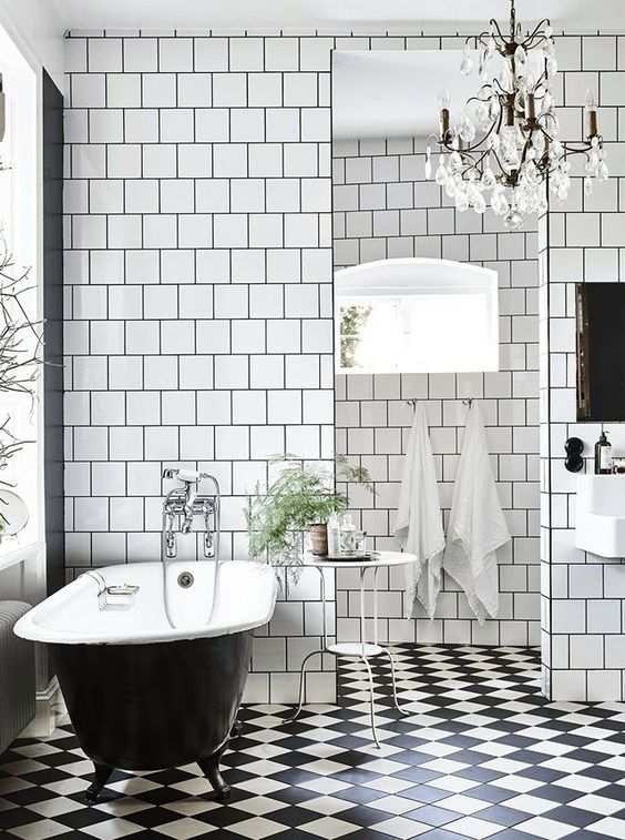 Checkerboard tiles in Victorian bathroom