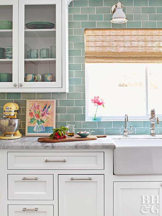 Subway wall tiles in Victorian kitchen