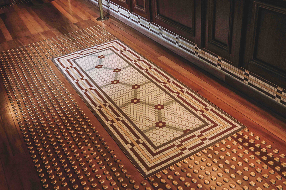 mosaic floor at bar
