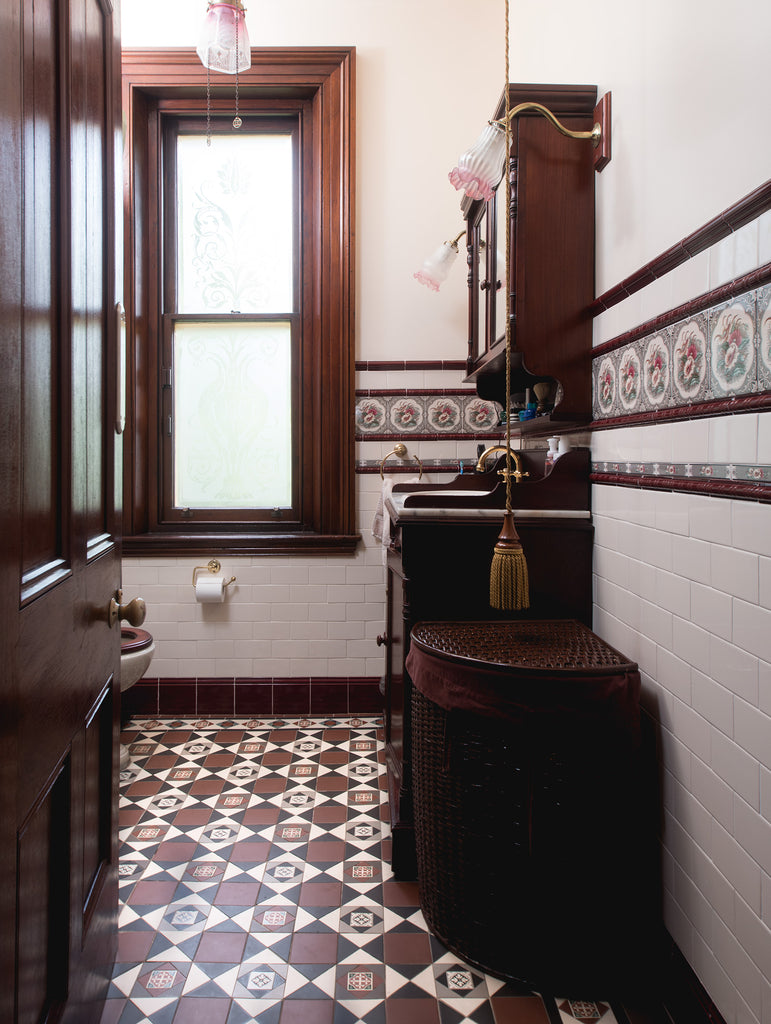 A red Federation tile bathroom
