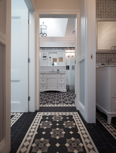 A black and charcoal Federation bathroom