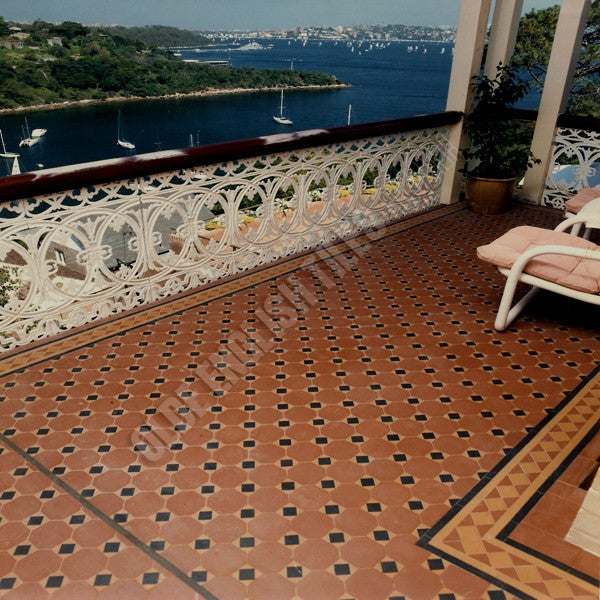 Olde English Tiles – Raglan pattern with the Norwood border. Gorgeous Verandah Heritage Tessellated Tiles