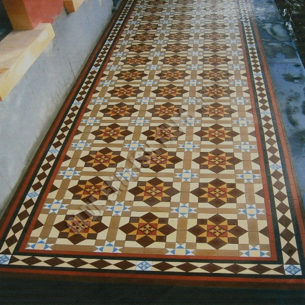 Olde English Tiles – Special custom pattern with the Special custom border. Gorgeous Verandah Heritage Tessellated Tiles