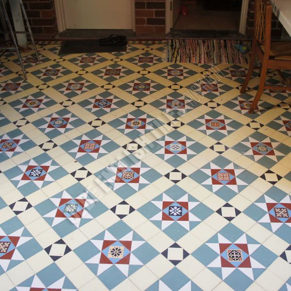 Olde English Tiles – Paddington pattern with the Norwood border. Gorgeous Verandah Heritage Tessellated Tiles
