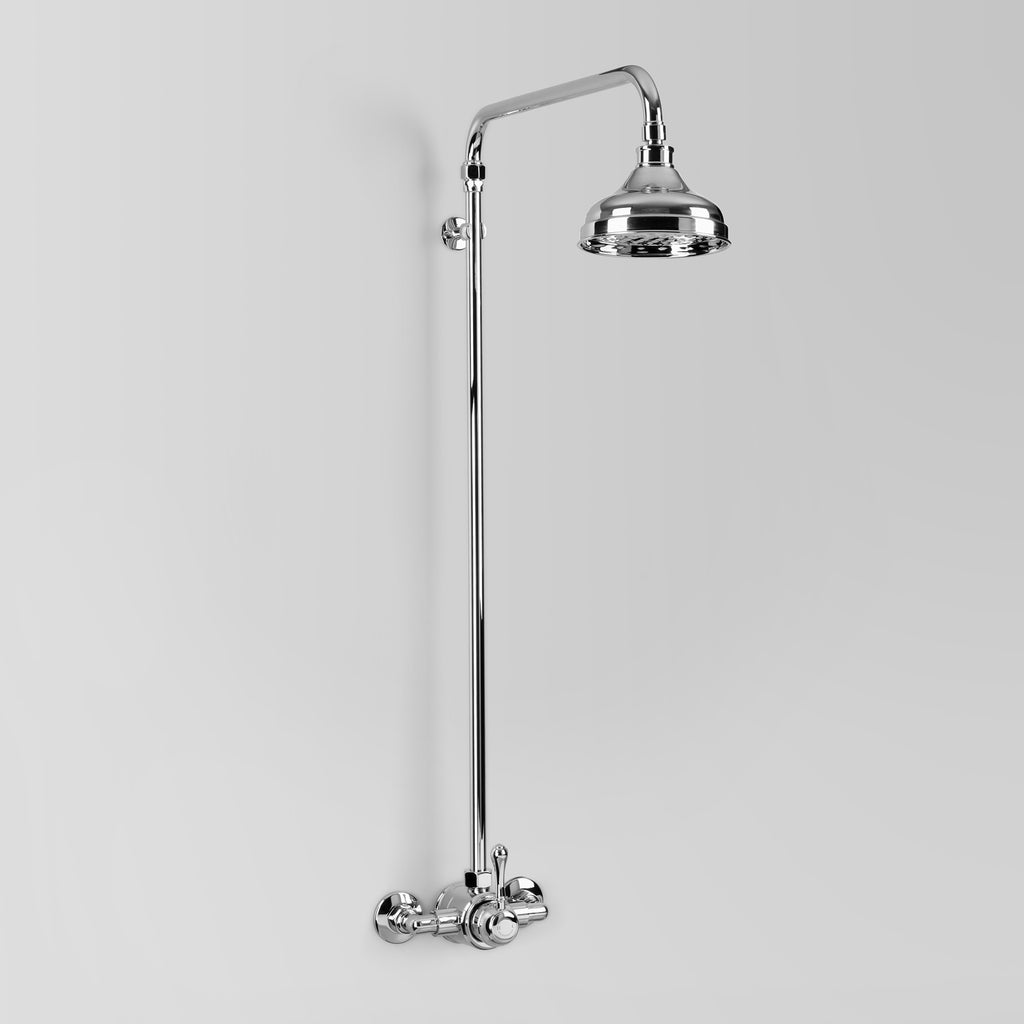 Olde English Signature -  Classic Olde English Signature Shower Set with Metal Lever wall entry at 150mm fixed centres with 150mm shower rose
