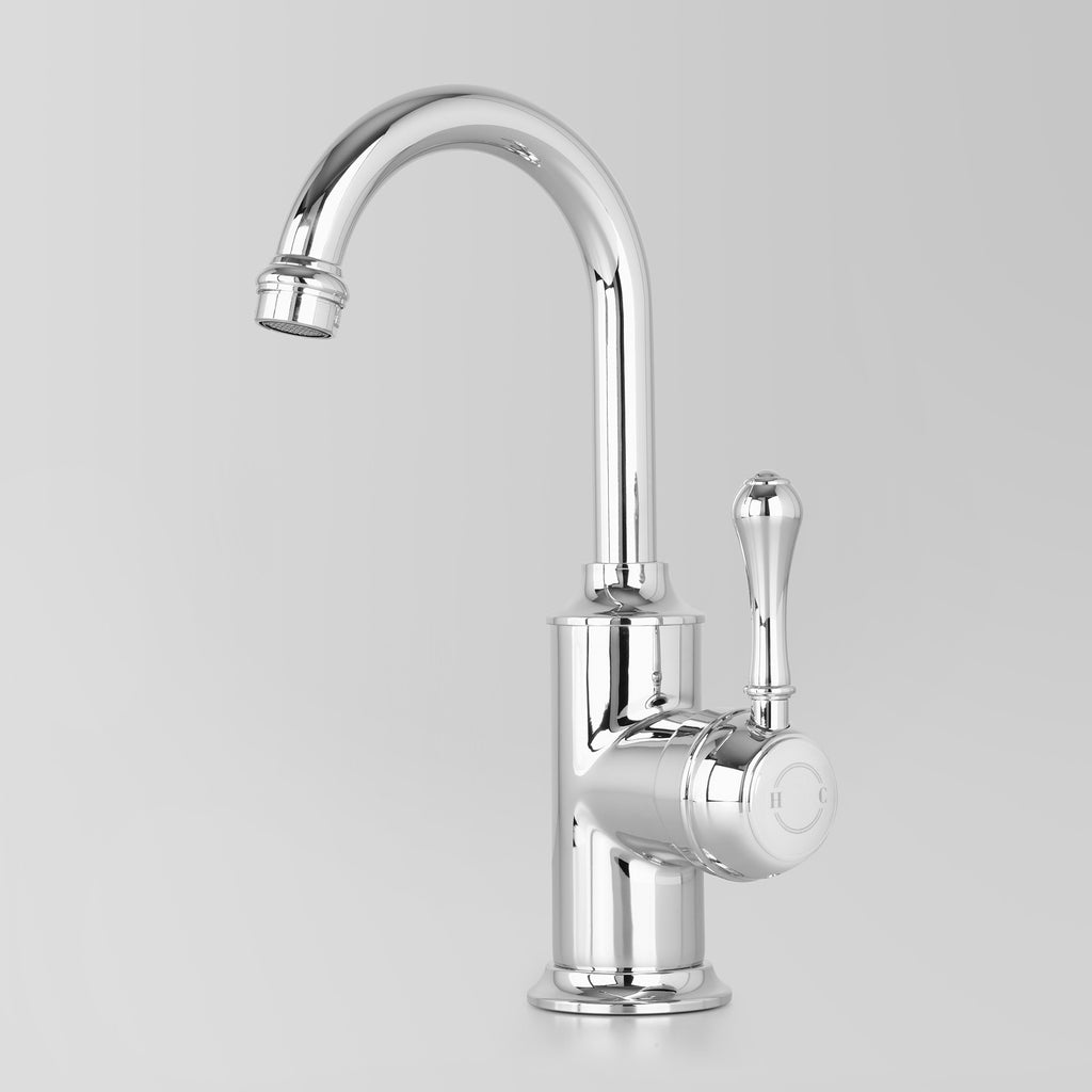Tap Ware, Showers and Accessories -  Classic Olde English Signature Basin Mixer Metal Lever 110mm swivel spout