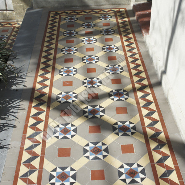 Olde English Tiles – Special custom pattern with the Bristol border. Gorgeous Verandah Heritage Tessellated Tiles