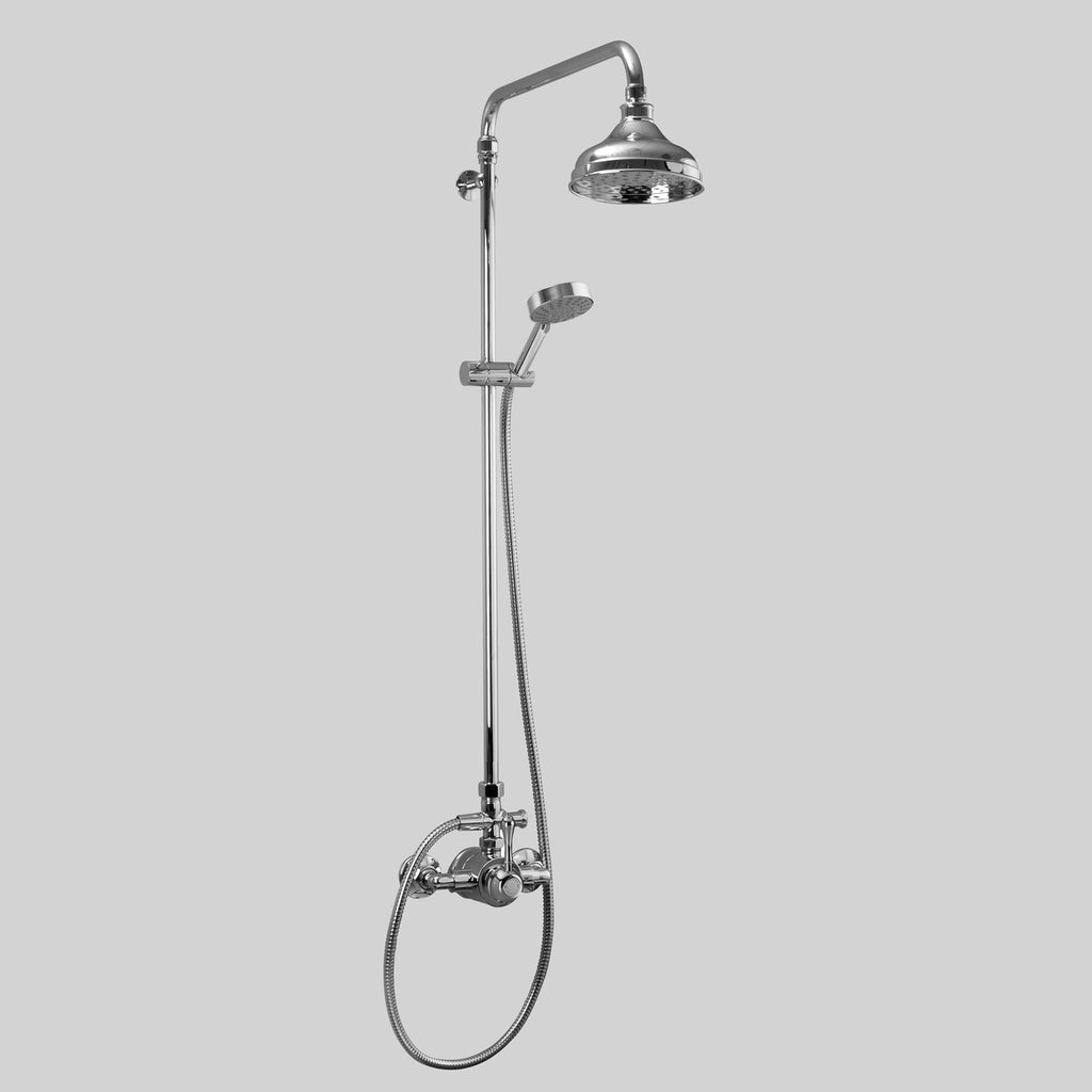- Classic Olde English Signature Shower Set V5 with Metal Lever wall entry at 150mm fixed centres with 150mm shower rose & multi function Hand Shower