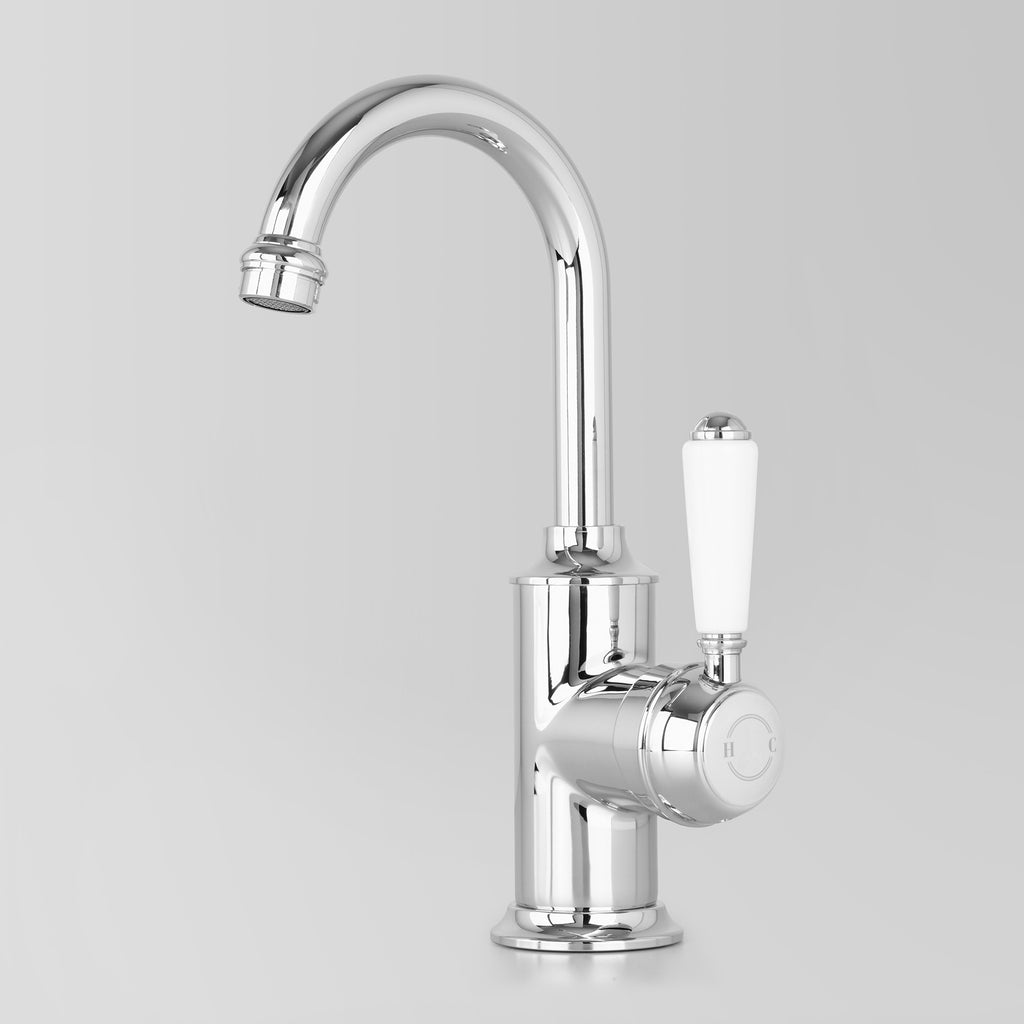Tap Ware, Showers and Accessories -  Classic Olde English Signature Basin Mixer White Lever 110mm swivel spout