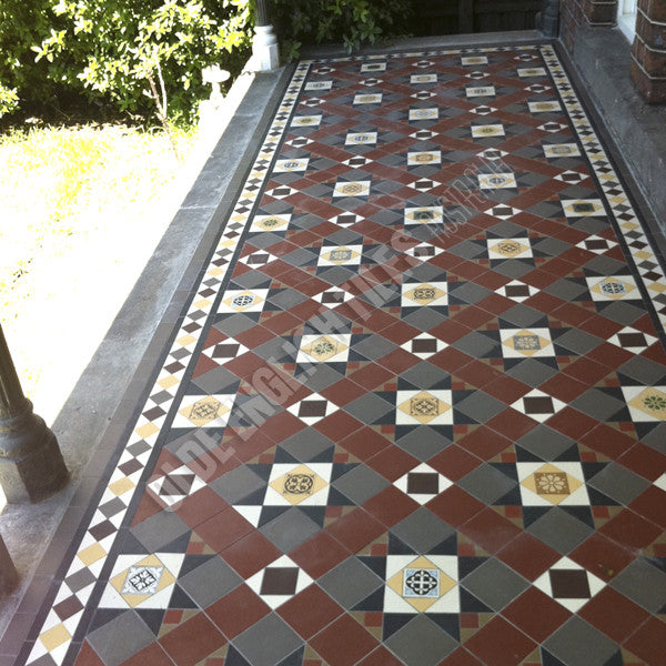 Olde English Tiles – Westminster pattern with the Norwood border. Gorgeous Verandah Heritage Tessellated Tiles