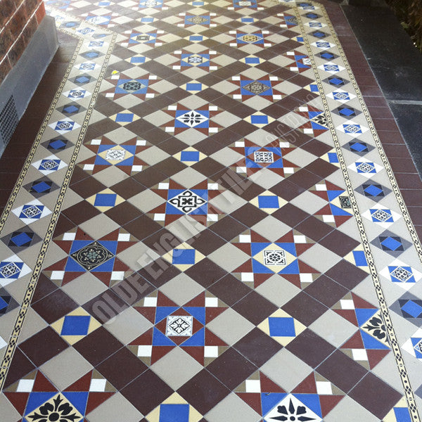 Olde English Tiles – Westminster pattern with the Toorak border. Gorgeous Verandah Heritage Tessellated Tiles