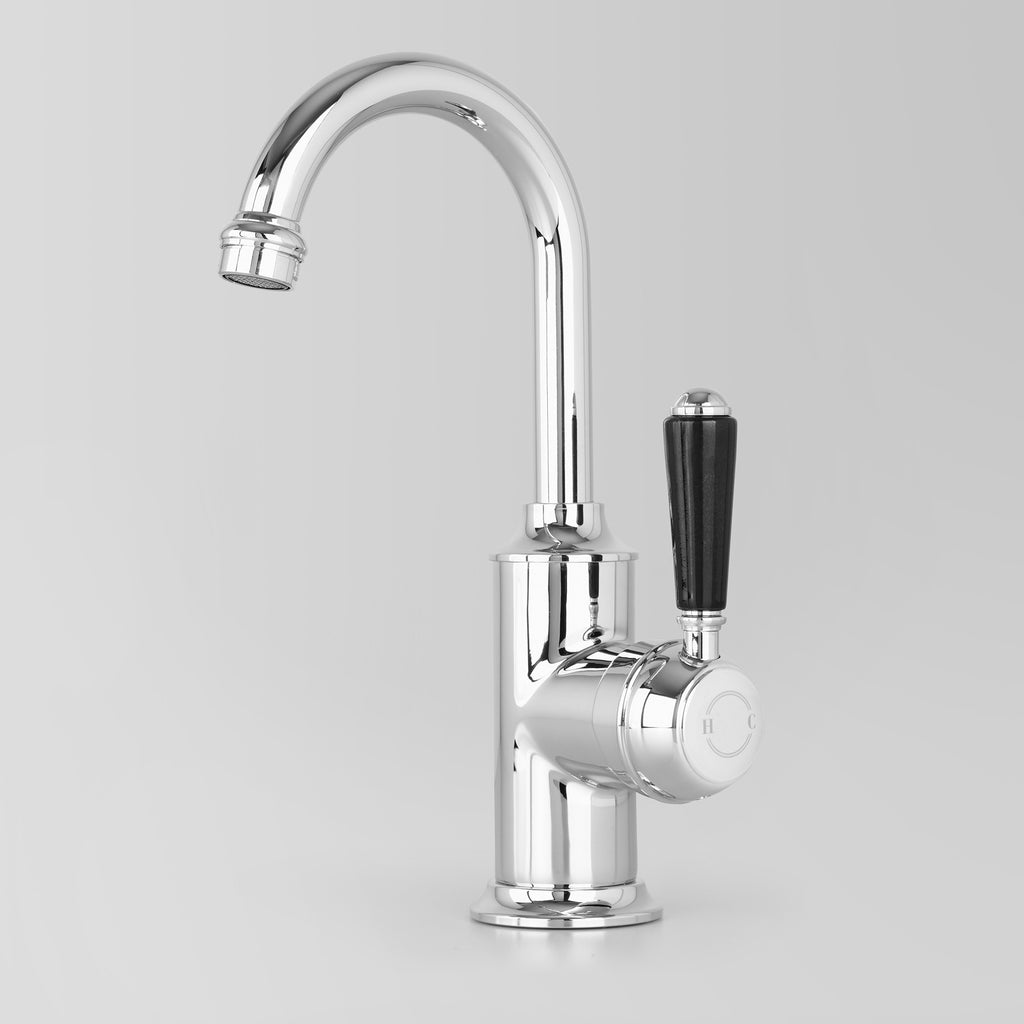Tap Ware, Showers and Accessories -  Classic Olde English Signature Basin Mixer Black Lever 110mm swivel spout