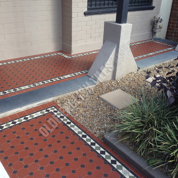 Olde English Tiles – Olde english iii pattern with the Norwood border. Gorgeous Verandah Heritage Tessellated Tiles