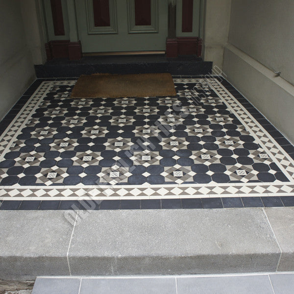 Olde English Tiles – Glasgow pattern with the Norwood border. Gorgeous Verandah Heritage Tessellated Tiles
