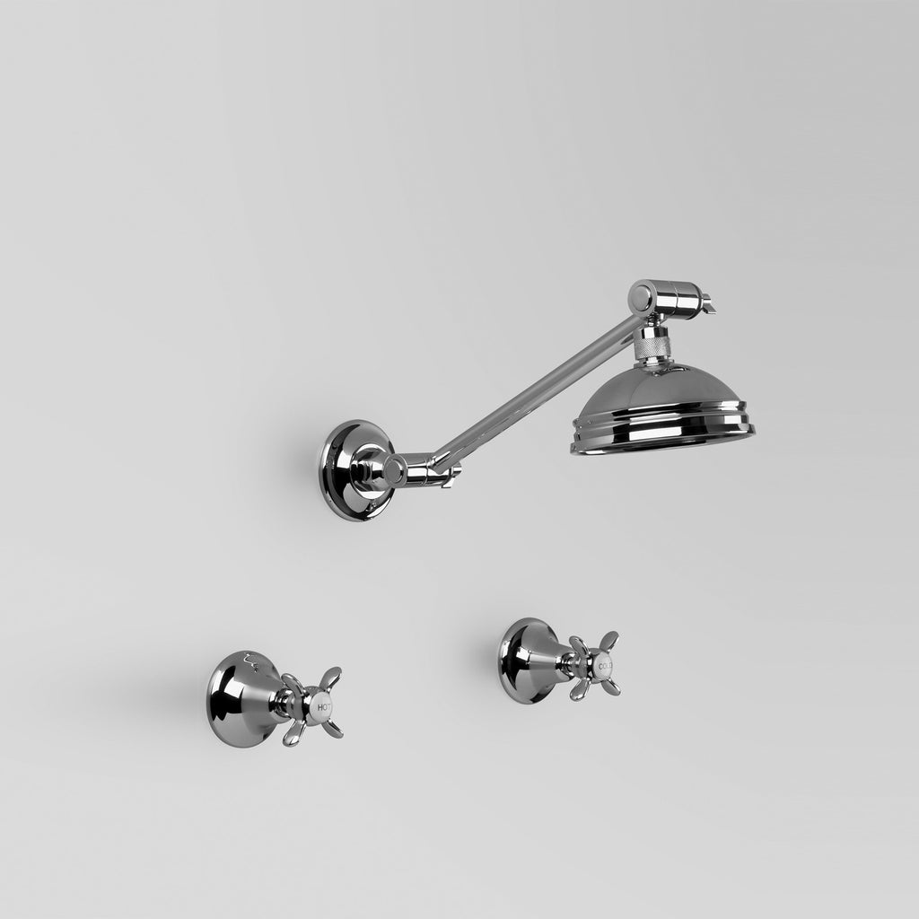 Olde English -  Classic Olde English Shower Set with adjustable arm & 100mm ball joint rose