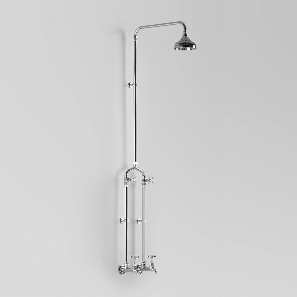 Olde English -  Classic Olde English Bath Shower Set wall entry at 150mm fixed centres with 150mm shower rose