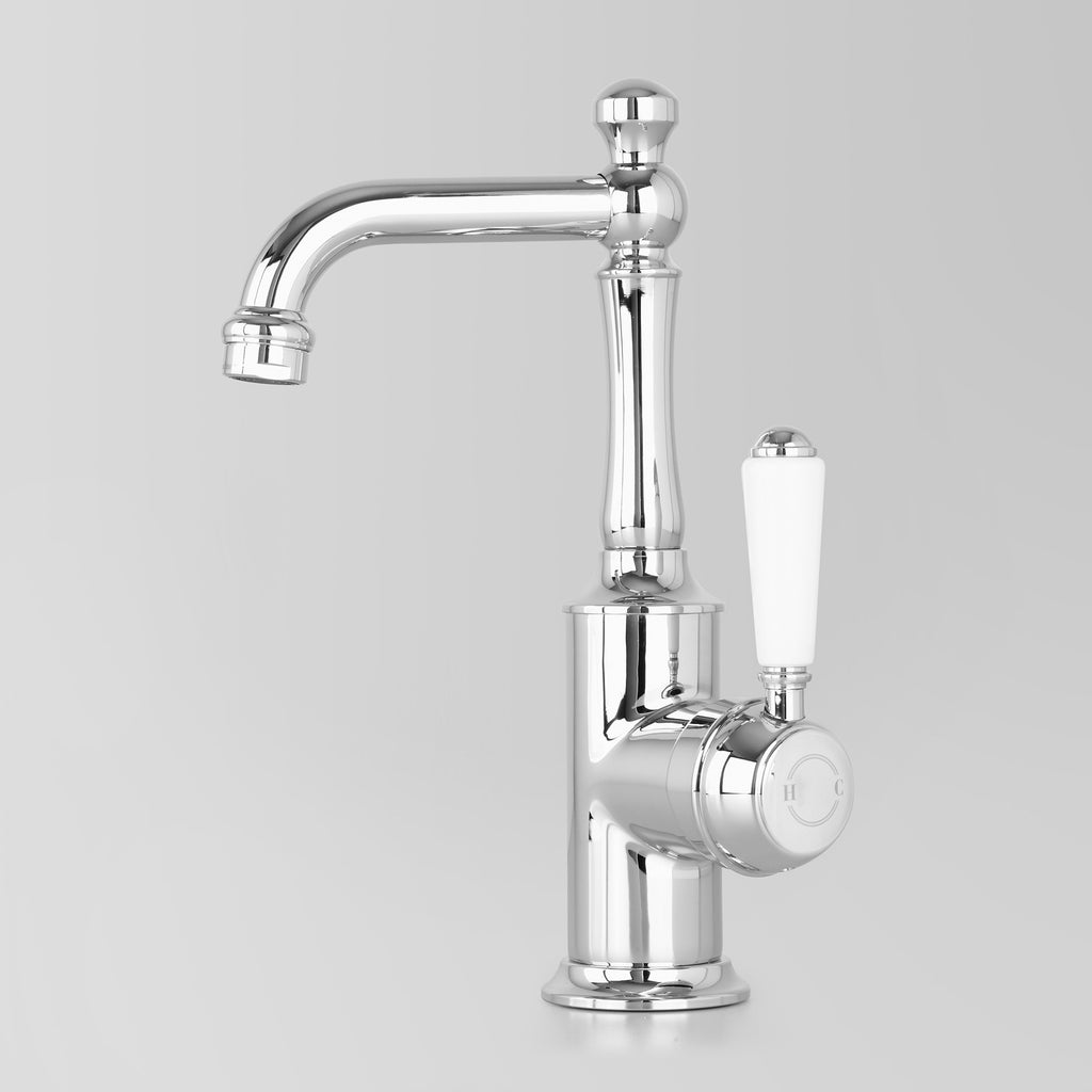 Tap Ware, Showers and Accessories -  Classic Olde English Signature Basin V2 Mixer White Lever 110mm swivel spout