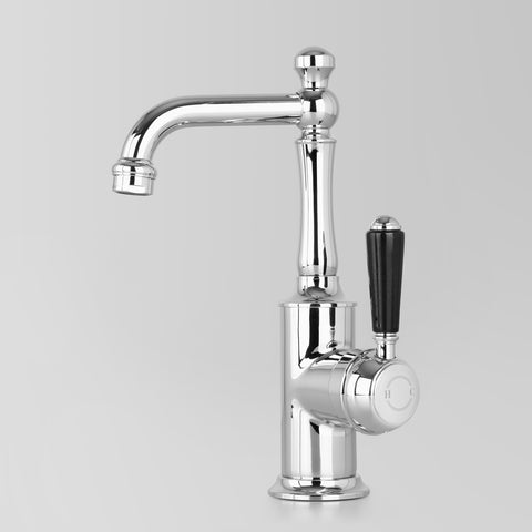 Classic Olde English Signature Basin V2 Mixer Black Lever 110mm swivel spout