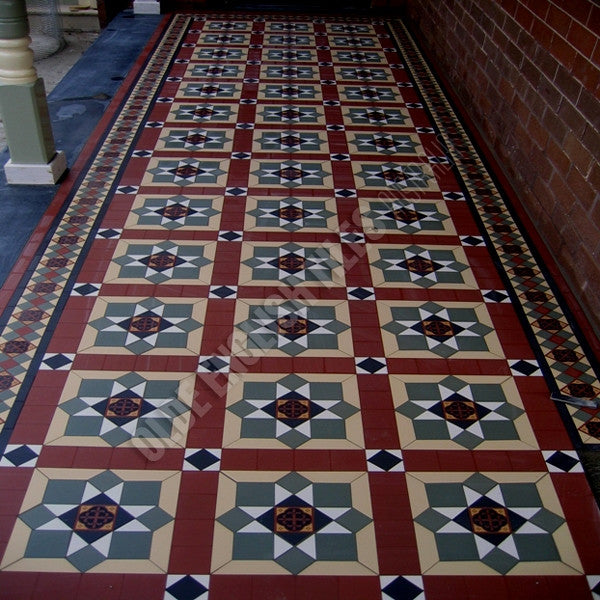 Olde English Tiles – Bristol pattern with the Newcastle border. Gorgeous Verandah Heritage Tessellated Tiles