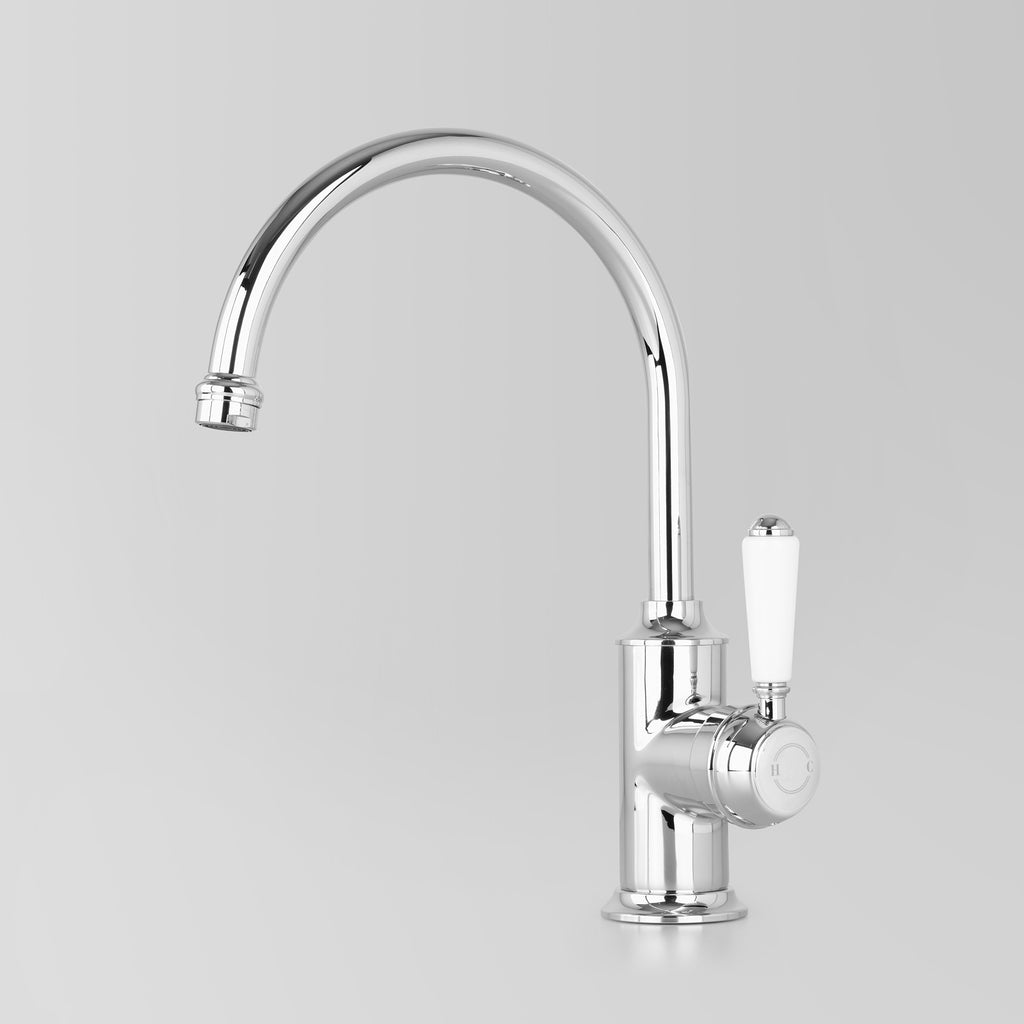 Tap Ware, Showers and Accessories -  Classic Olde English Signature Kitchen Mixer White Lever 200mm swivel spout