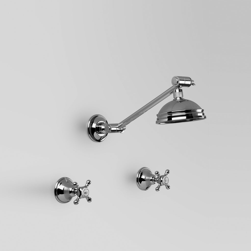 - Classic Edwardian Shower Set with adjustable arm & 100mm rose