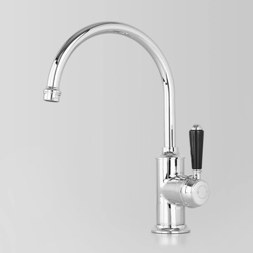 - Classic Olde English Signature Kitchen Mixer Black Lever 200mm swivel spout