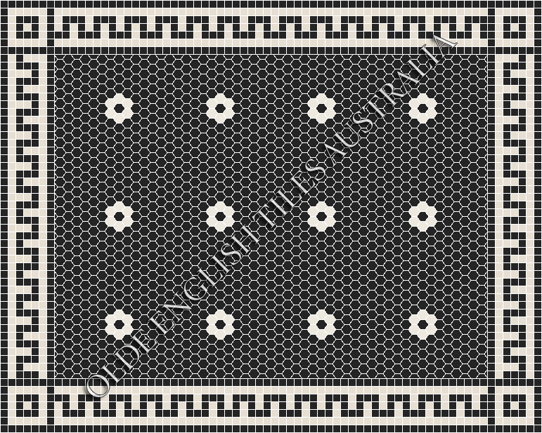 Classic Mosaic Tiles - Algonquin 25 Black with White Pattern