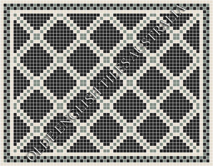 All - Astoria 20 Multi Black with White & Light Green Pattern