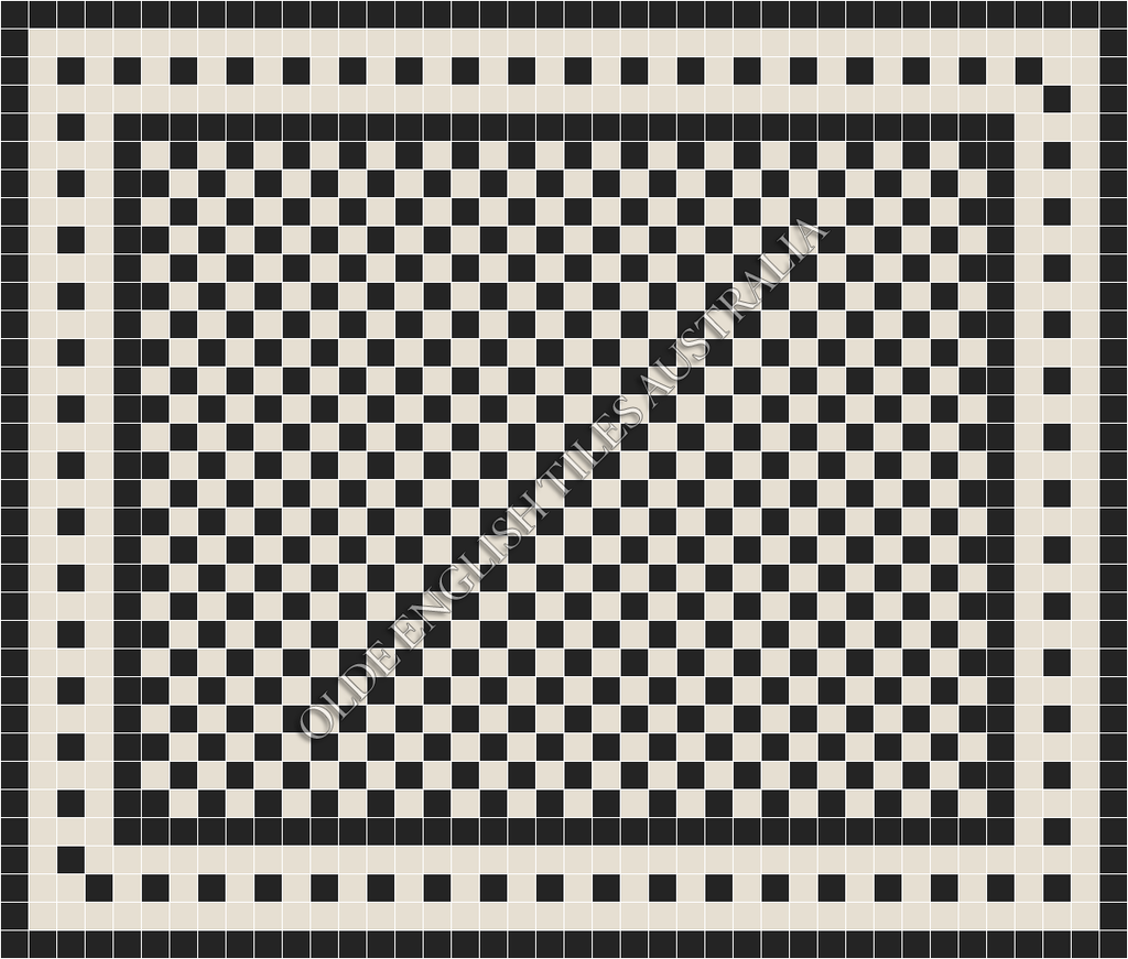 Classic Mosaic Tiles - Barclay 50 Black with White Pattern