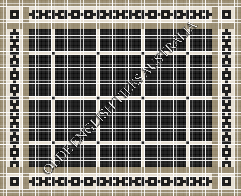 Classic Mosaic Tiles - Brooklyn 20 Black with White Pattern