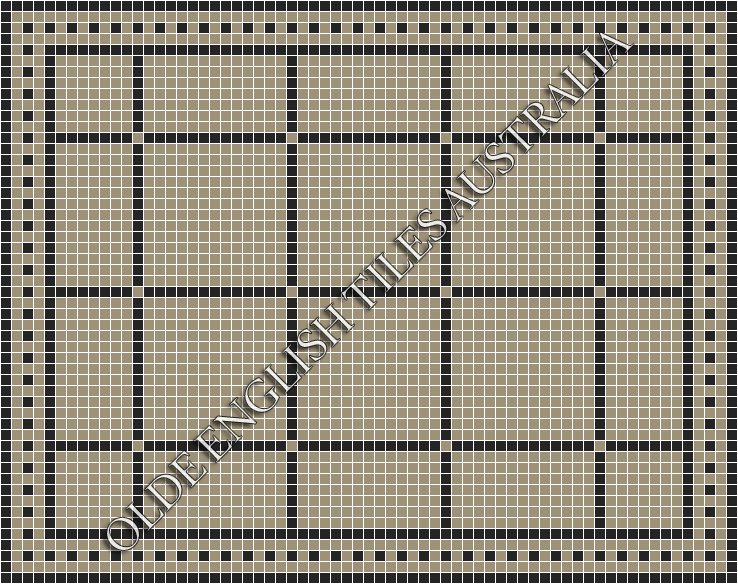 Classic Mosaic Tiles - Brooklyn 20 Light Grey with Black Pattern
