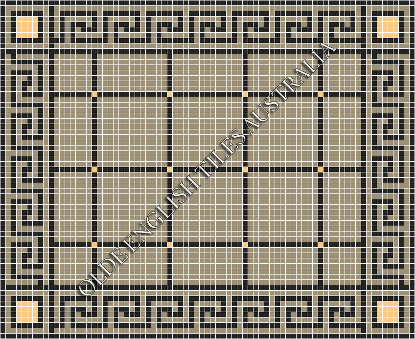 Classic Mosaic Tiles - Brooklyn 20 Multi Light Grey with Black & Oatmeal Pattern