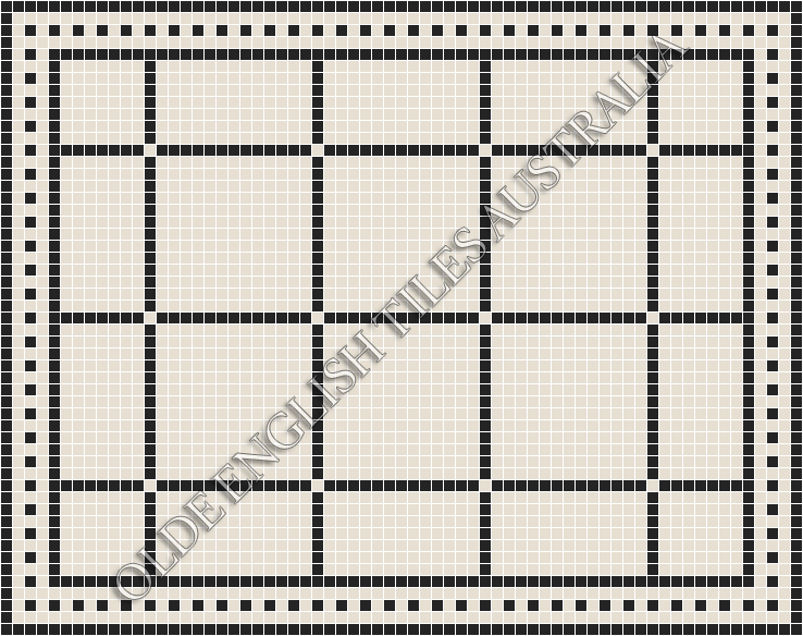 Classic Mosaic Tiles - Brooklyn 20 Super White with Black Pattern