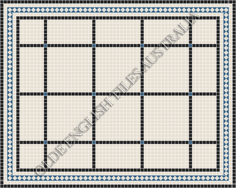 Classic Mosaic Tiles - Brooklyn 20 Multi Super White with Black & Special Blue Pattern