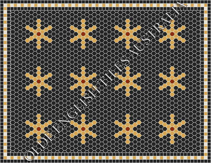 Classic Mosaic Tiles - Central Park 25 Black with Yellow & Special Red Pattern