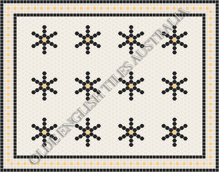 - Central Park 25 White with Black & Oatmeal Pattern