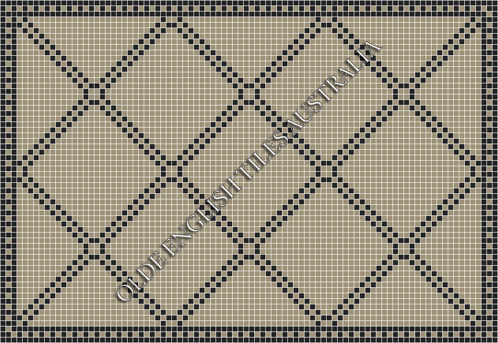Classic Mosaic Tiles - Chrysler 20 Light Grey with Black Pattern