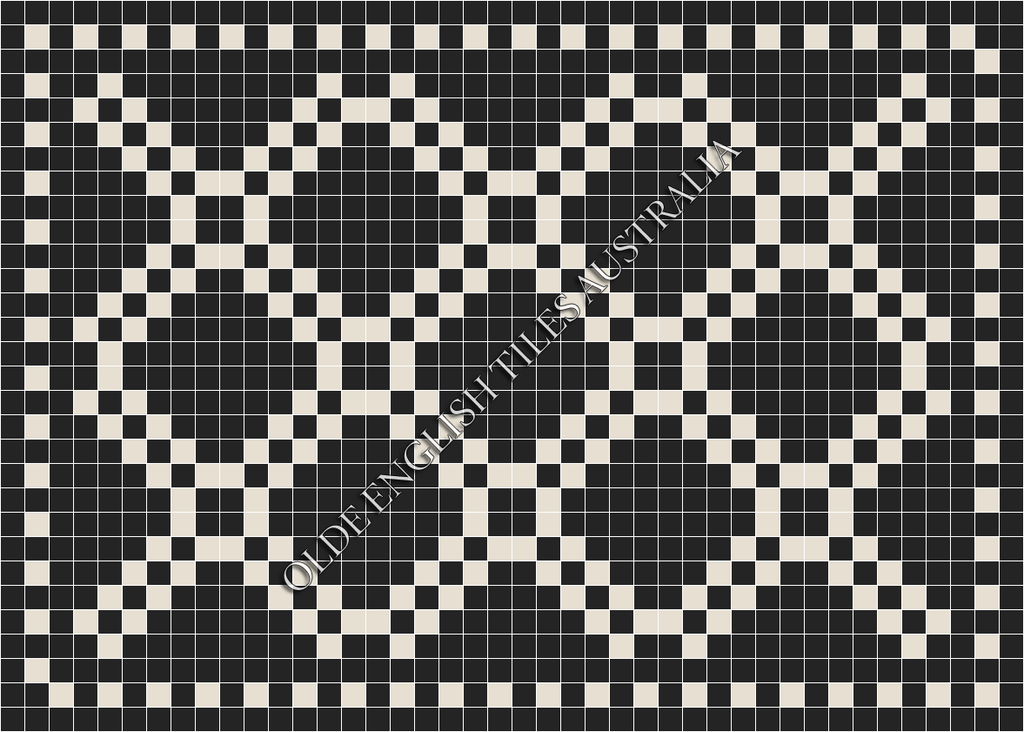 Classic Mosaic Tiles - Chrysler 50 Black with Super White Pattern