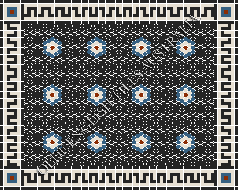 Classic Mosaic Tiles - Empire Multi 25 Black with Dark Blue, White and Special Red Pattern