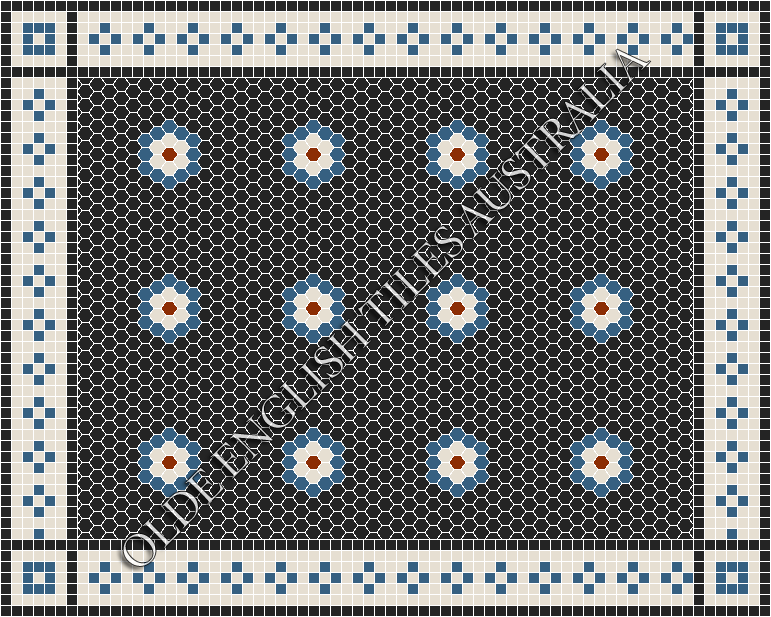 - Empire Multi 25 Black with Dark Blue, White and Special Red Pattern