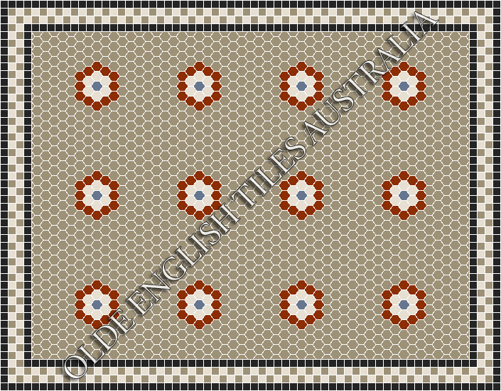 Classic Mosaic Tiles - Empire Multi 25 Light Grey with Special Red, White and Light Blue Pattern