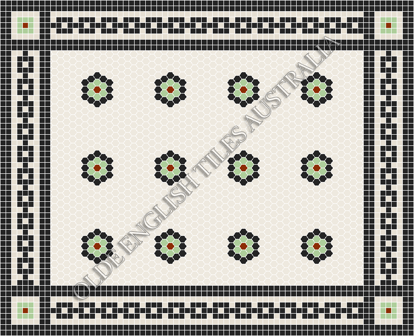 - Empire Multi 25 White with Black, Sage and Special Red Pattern