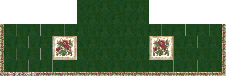 Fireplace and Heath tiles -  English Rose and English Rose Strip with Green