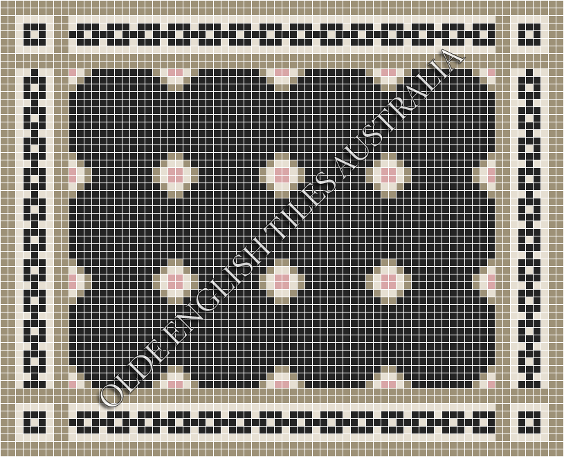 - Gatsby 20 Multi Black with Light Grey, White and Pink Pattern