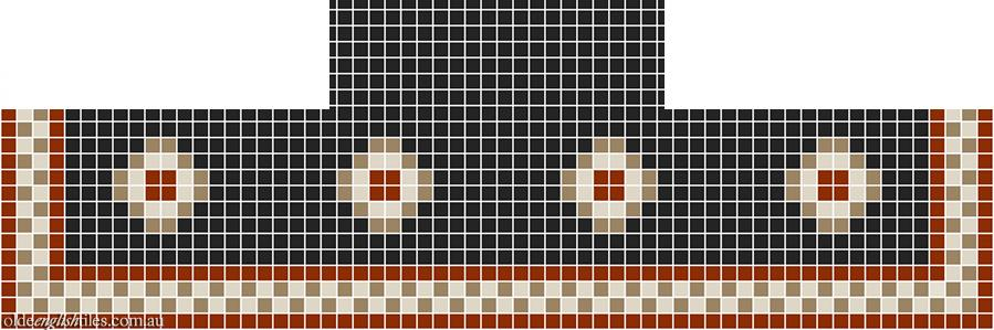 Fireplace Mosaic -  Gatsby Multi 20 with Checkerboard border - Option 1