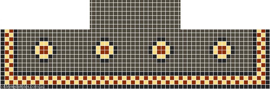 Fireplace Mosaic -  Gatsby Multi 20 with Checkerboard border - Option 3