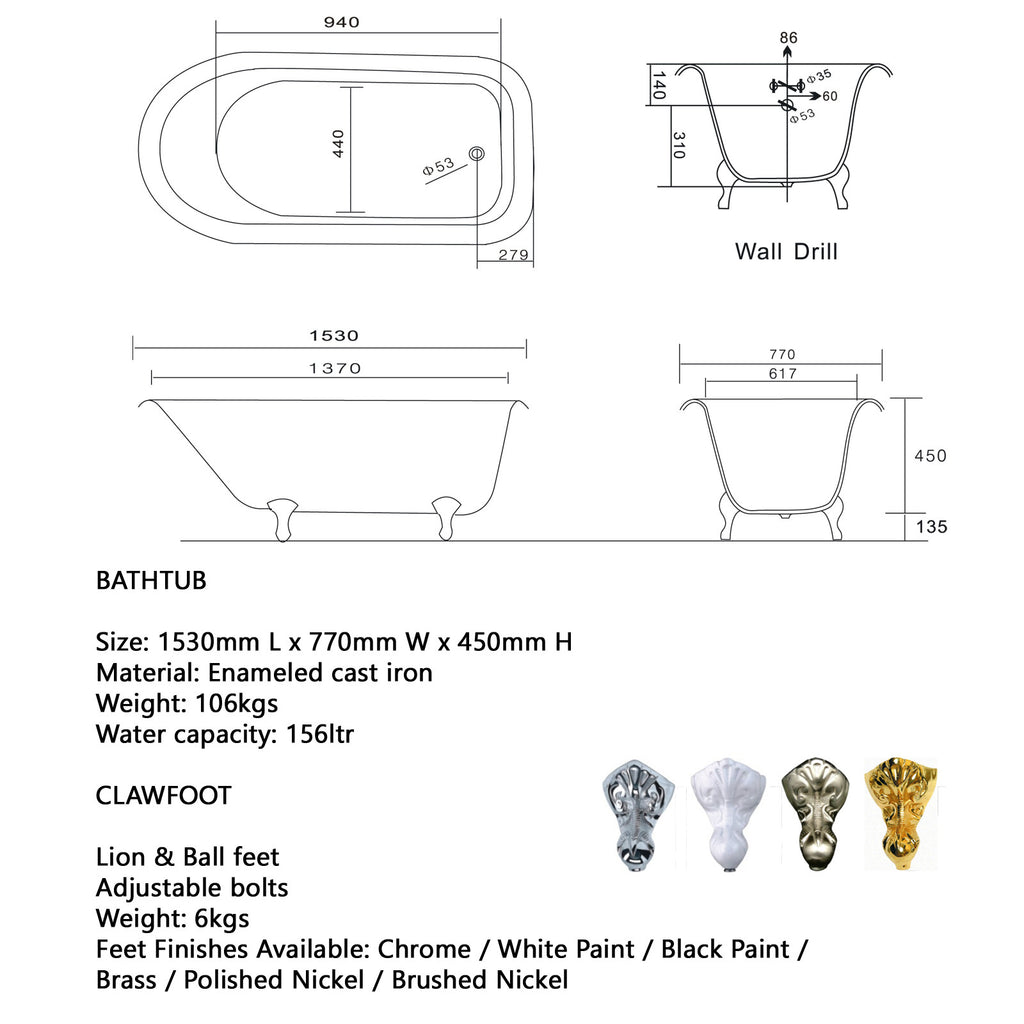 Traditional and Contemporary Baths - Lion 1530 or 1710 Cast Iron bath