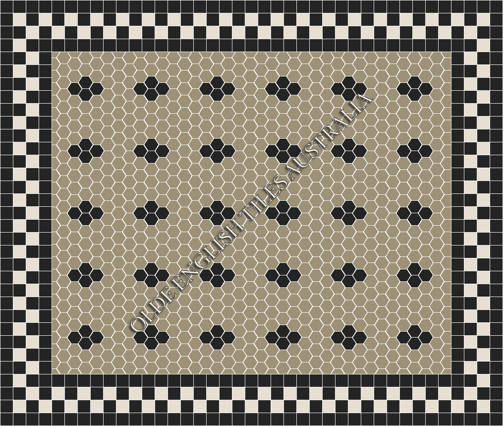 Classic Mosaic Tiles - Metropolis 50 Light Grey with Black Pattern