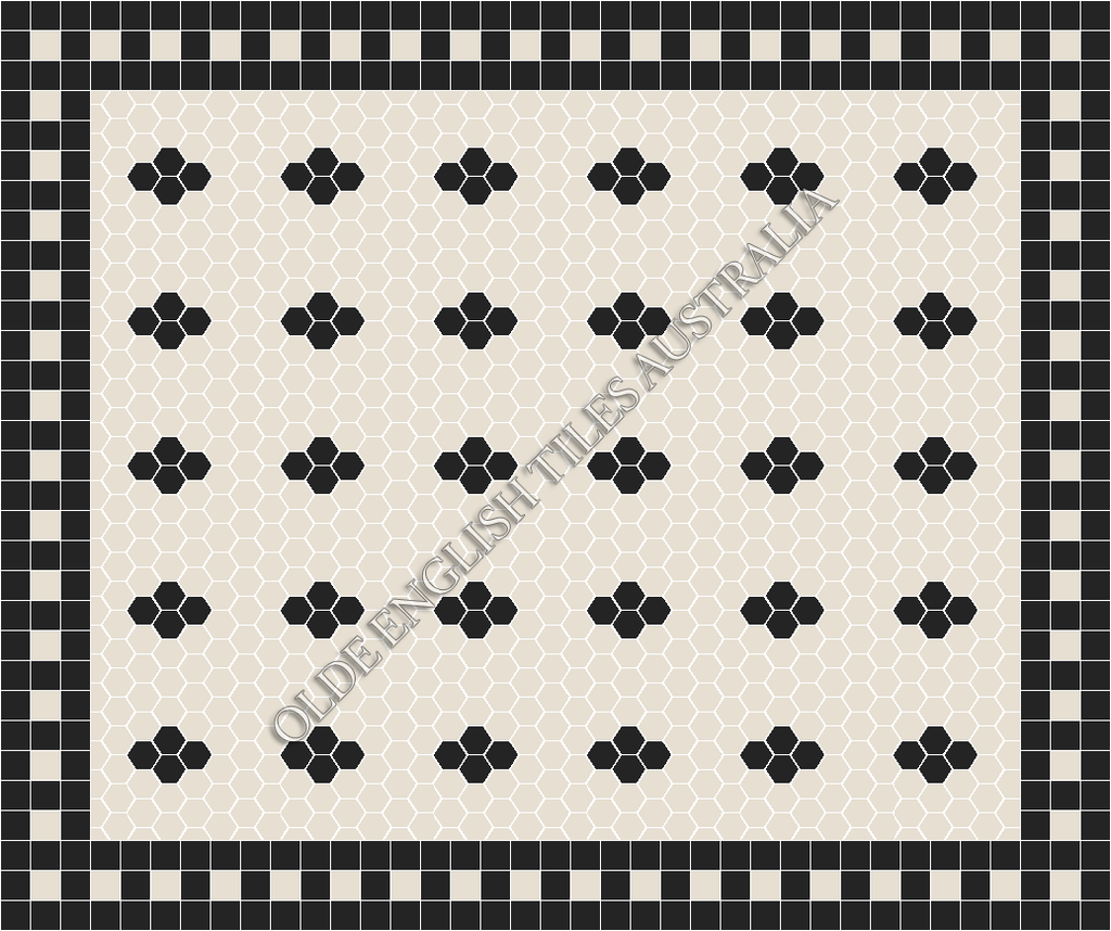 Classic Mosaic Tiles - Metropolis 50 White with Black Pattern