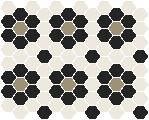 Classic Mosaic Tiles - Palasade 25 White with Black and Light Grey Pattern